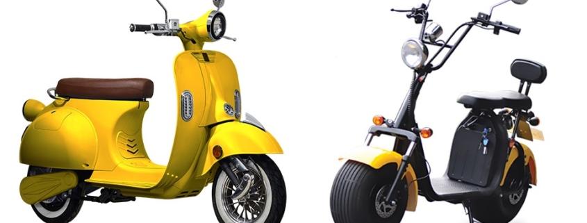 CityCoco električni skuteri - žuta boja. Snaga motora 1200-3000W, baterija 12-40Ah, domet 50-100 km s jednim punjenjem (ovisno o modelu). Jednostavno punjenje na kućnoj 220V utičnici. Homologirani, spremni za registraciju.